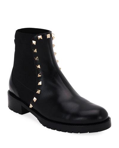 Rockstud Leather Boot  Black