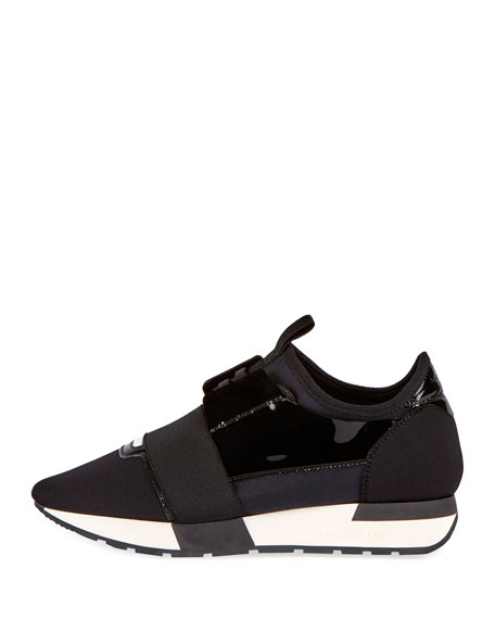 Lace-Up Stretch Runner Sneaker, Noire (Black)