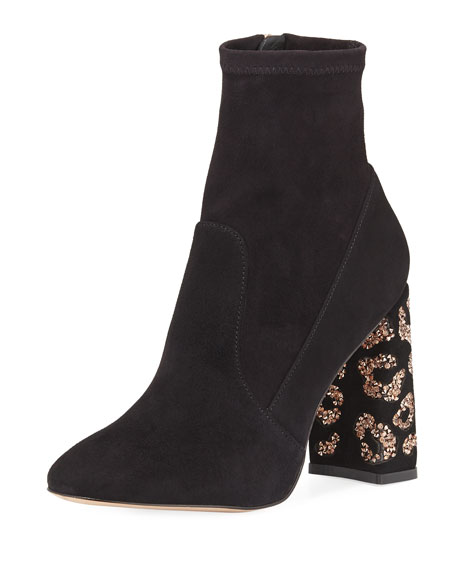 Sophia Webster Felicity Leopard 110mm Embellished-Heel Boot
