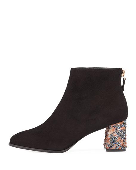 Stella Suede Crystal-Heel Ankle Boot