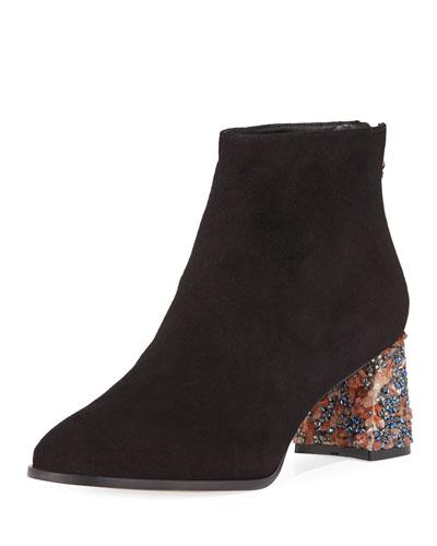 Sam Suede Crystal-Heel Ankle Boot