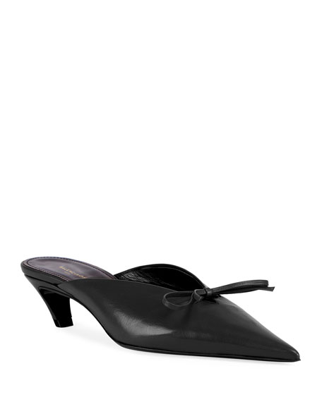 Pointed-Toe Leather Bow Mule, Black, Noir