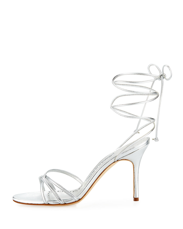 a22fe7b900 Manolo Blahnik Leva Metallic Strappy Ankle-Wrap Sandals, Silver   Neiman  Marcus