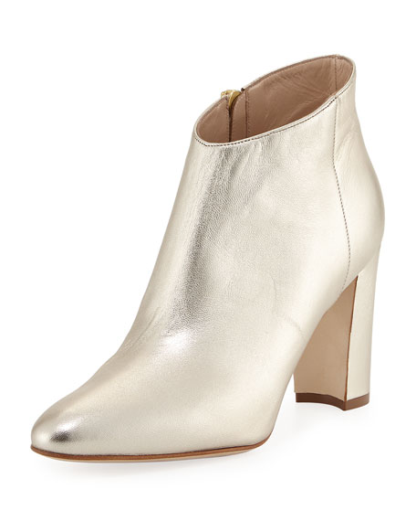 Manolo Blahnik Brusta Metallic Leather Bootie, Gold