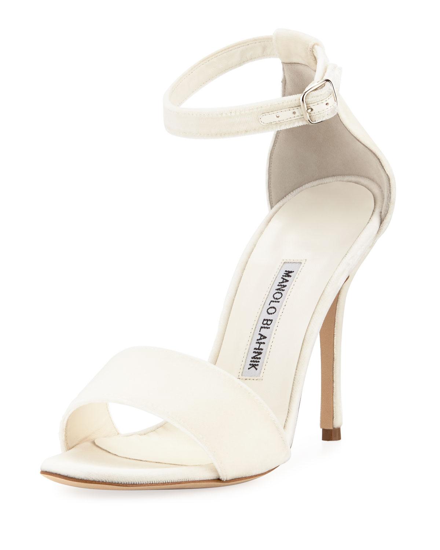 2fbbc2b76d7 Manolo Blahnik Tres Velvet Ankle-Wrap Sandal