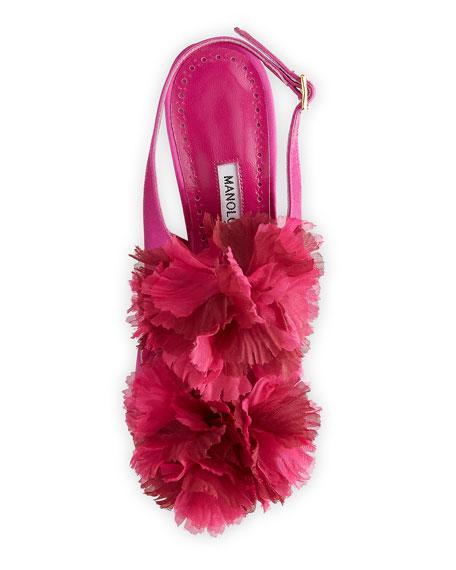 Flore Satin Flower Sandals, Fuchsia