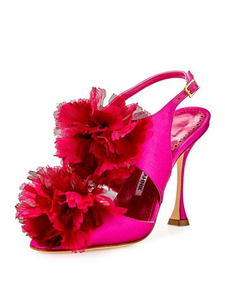 Manolo Blahnik Flore Satin Flower Sandal, Fuchsia