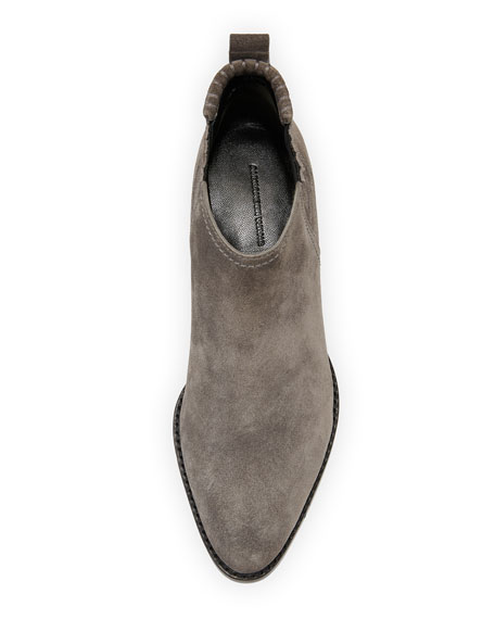 Kori Suede Lift-Heel Bootie, Gray