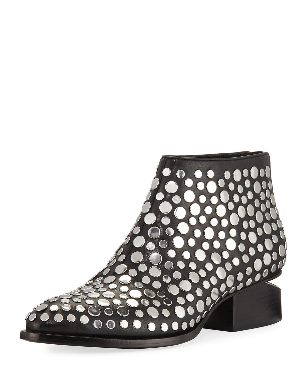 ed28499624c Kori Studded Leather Lift-Heel Booties, Black