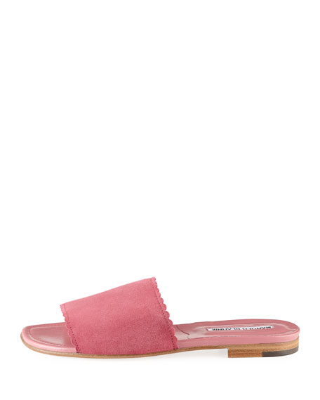 Suede Scalloped Slide Flat Sandals, Pink