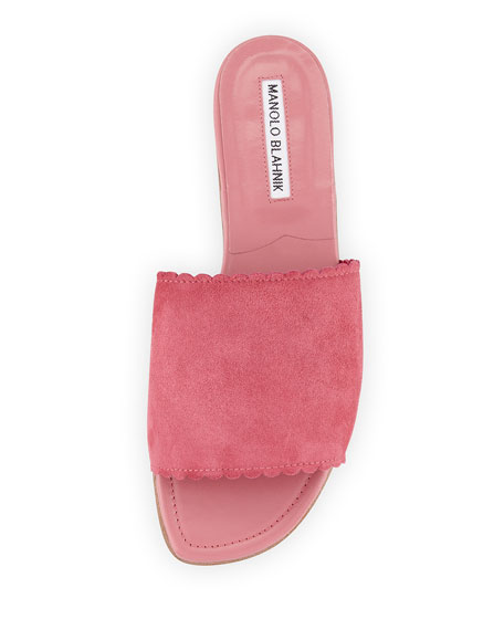 Suede Scalloped Slide Flat Sandal, Pink