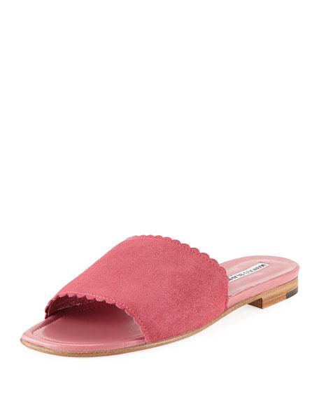 Suede Scalloped Slide Flat Sandal, Pink