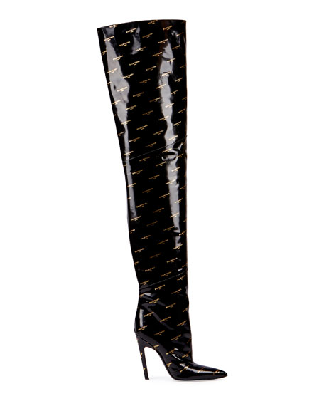 Logo-Print Patent Over-The-Knee Boot, Noir (Black)