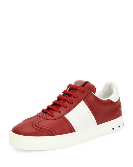 Valentino Garavani Fly Crew Lace-Up Leather Low-Top Sneaker,