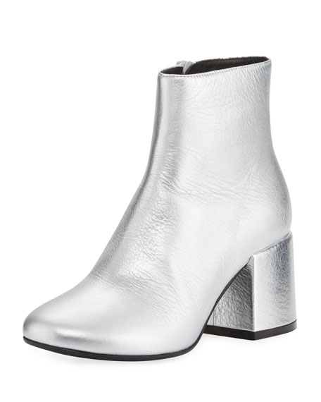 MM6 Maison Martin Margiela Metallic Leather Chunky Bootie,