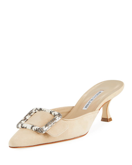Manolo Blahnik Maysale Patent Leather 50mm Mule, Nude