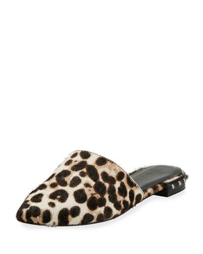 Akay Calf Hair Flat Mule, Snow Leopard