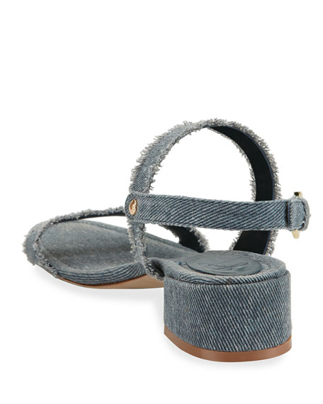 Rach Fabric Chunky Sandal, Dark Denim