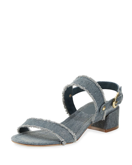 Rach Fabric Chunky Sandal, Dark Denim