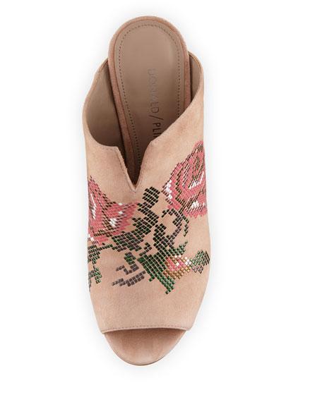 Elora Floral-Studded Slide Sandal, Blush