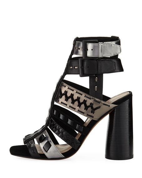 Bindy Multi-Strap Stitched Sandal, Black
