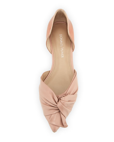 Pennie Ruched Leather d'Orsay Flat, Blush Rose