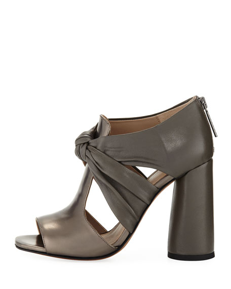 Bailey Knot-Front Block-Heel Sandal, Gunmetal