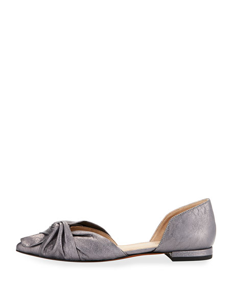 Pennie Ruched Leather d'Orsay Flat, Gunmetal