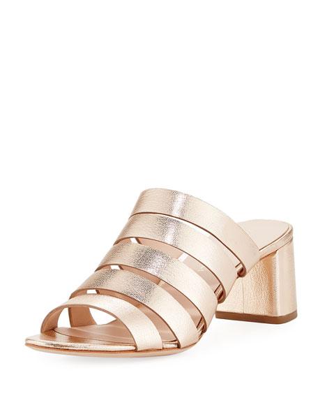 Loeffler Randall Finley Metallic Slide Sandal, Rose Gold