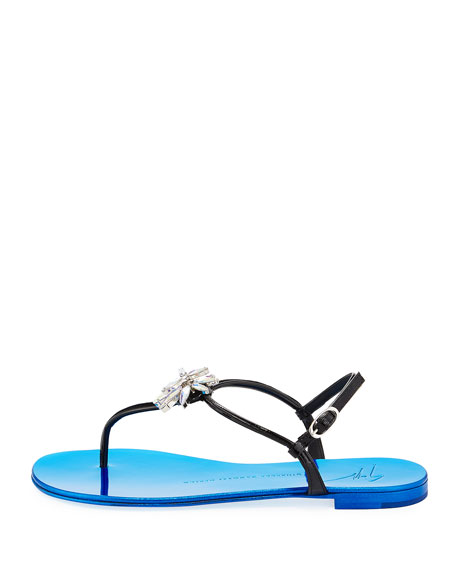 Patent Jeweled Flat Thong Sandal, Black