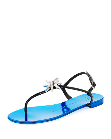Patent Jeweled Flat Thong Sandals, Black