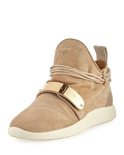 Suede High-Top Sneaker, Beige