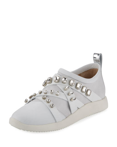 Jeweled Leather/Suede Slip-On Sneaker, White