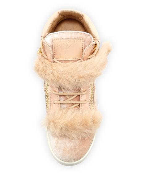 Side Zip Fur-Trimmed High-Top Sneaker