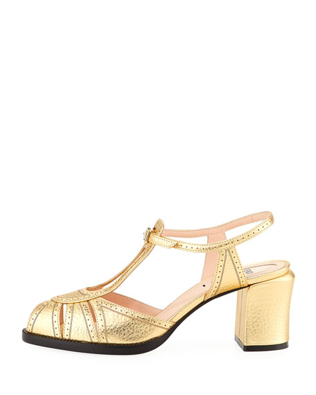 Chameleon Metallic Leather Block-Heel Sandal