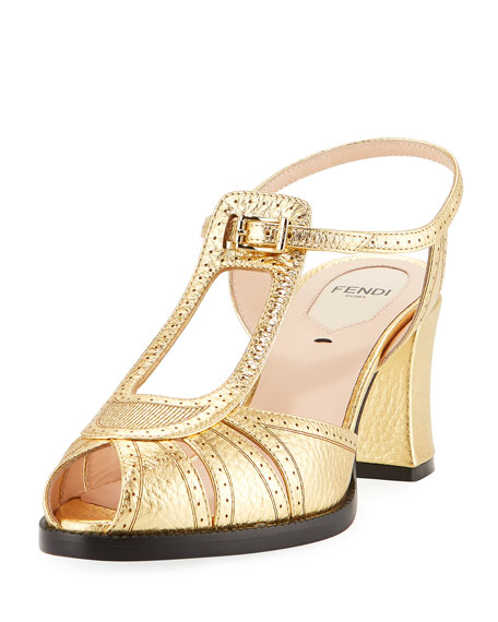 Fendi Chameleon Metallic Leather Block-Heel Sandal