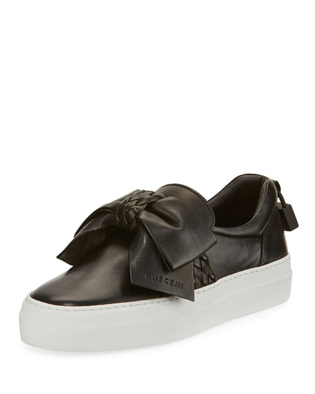 Buscemi 40mm Woven Leather Bow Sneakers, Black