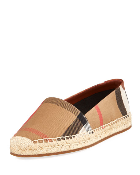 Burberry Hodgeson Check Espadrille Flat, Tan
