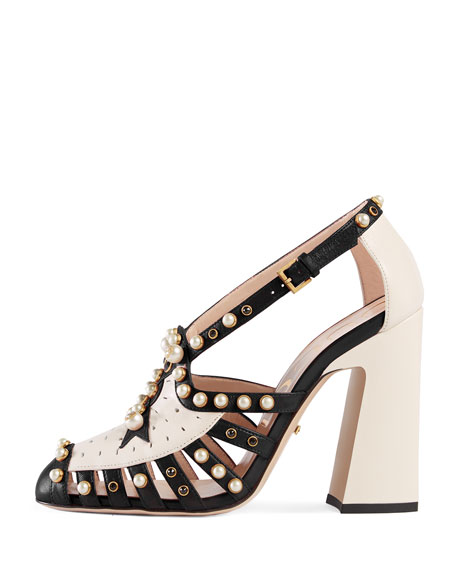 Tracy 100mm Pearl Studded Pump