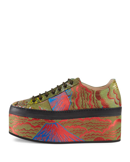 Jacquard Platform Sneakers, Multi