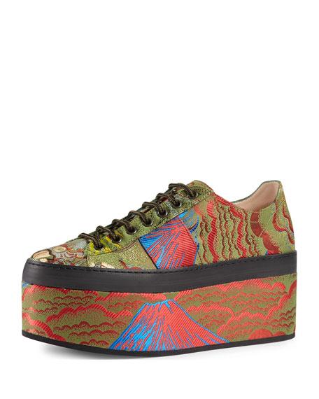 Gucci Peggy Jacquard Platform Sneaker, Multi
