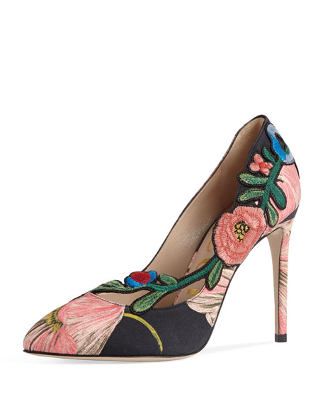 Gucci Ophelia Embroidered 105mm Pump, Black/Pink