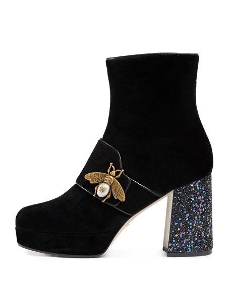 Soko Glitter-Heel Bee Boot, Black