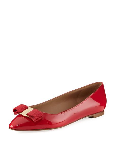 Salvatore Ferragamo Emy Patent Ballerina Flat, Red