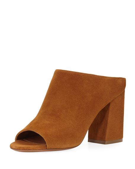 Givenchy Paris Suede Mule Sandal, Hazelnut