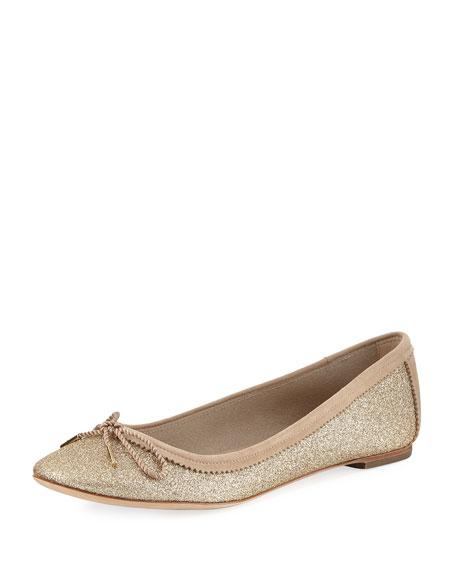 Salvatore Ferragamo Enea Glitter Ballerina Flat, Gold