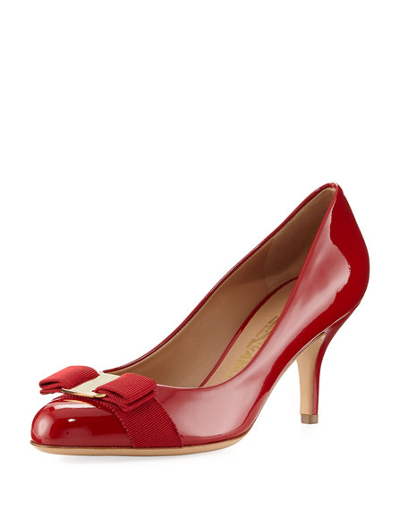 Salvatore Ferragamo Patent Bow Pump, Red