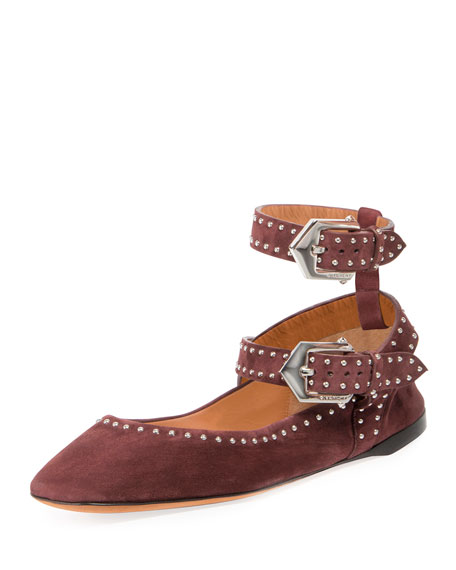 Elegant Soft Dual-Wrap Ballerina Flat, Oxblood Red