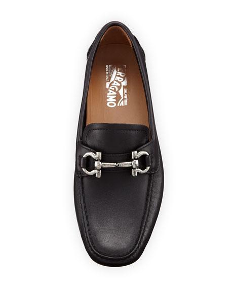 Gancini Leather Loafer, Black