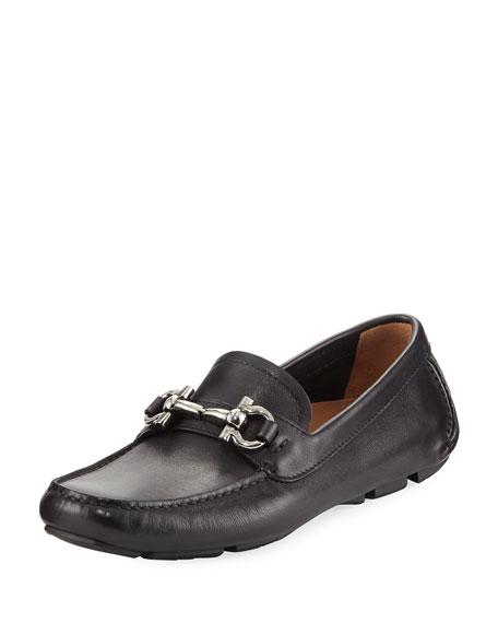 Salvatore Ferragamo Gancini Leather Loafer, Black